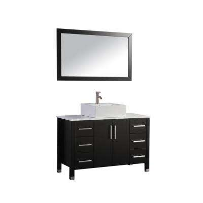 Aruba 48 in. W x 20 in. D x 36 in. H Vanity in Espresso with Micro Stone Vanity Top in White with White Basin and Mirror