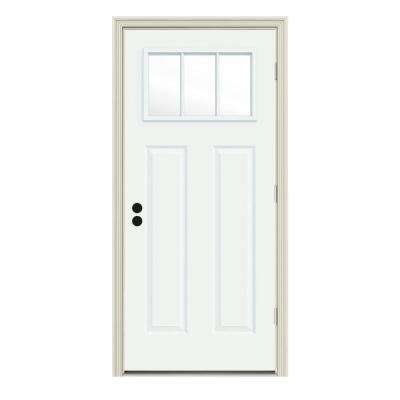 30 in. x 80 in. 3 Lite Craftsman White Painted Steel Prehung Left-Hand Outswing Front Door w/Brickmould