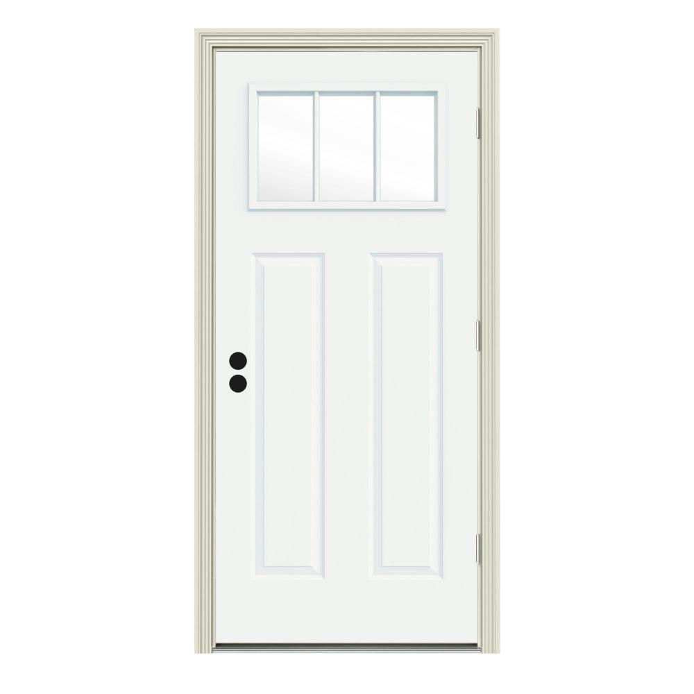 34 in. x 80 in. 3 Lite Craftsman White Painted Steel