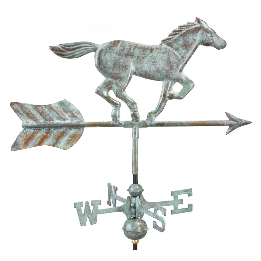 Horse Garden Weathervane - Blue Verde Copper with Garden Pole