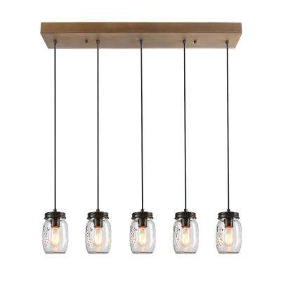 5-Light Rustic Bronze Chandelier with Clear Glass Jar Shade