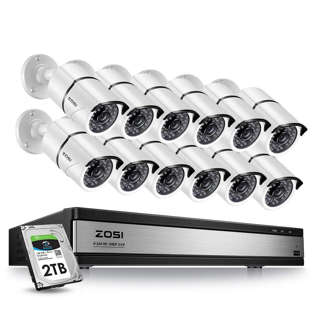 ZOSI 16-Channel 1080p 2TB DVR Security Camera System with 12 Wired Bullet Cameras
