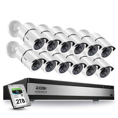 16-Channel 1080p 2TB DVR Security Camera System with 12 Wired Bullet Cameras White