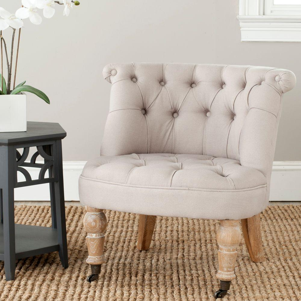 Accent Chair For Taupe Couch: Safavieh Carlin Taupe Linen Tufted Accent Chair-MCR4711B