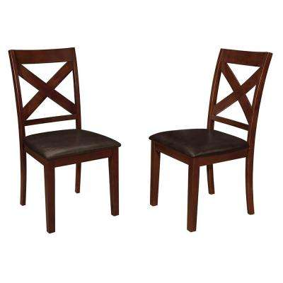 Espresso Wood X-Back Dining Chair (Set of 2)