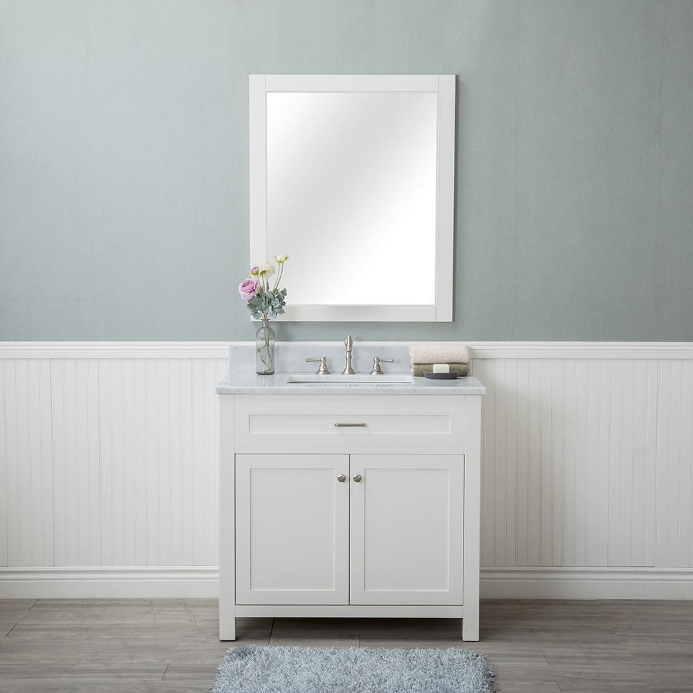 Norwalk 36 in. W x 22 in. D Vanity in Linen White with Marble Vanity Top in White with White Basin and Mirror