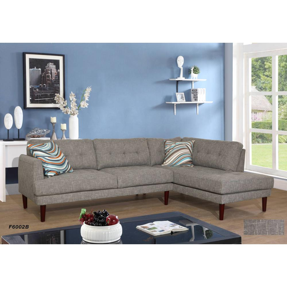 2 piece gray linen left facing sectional sofa set sh6002b the home depot