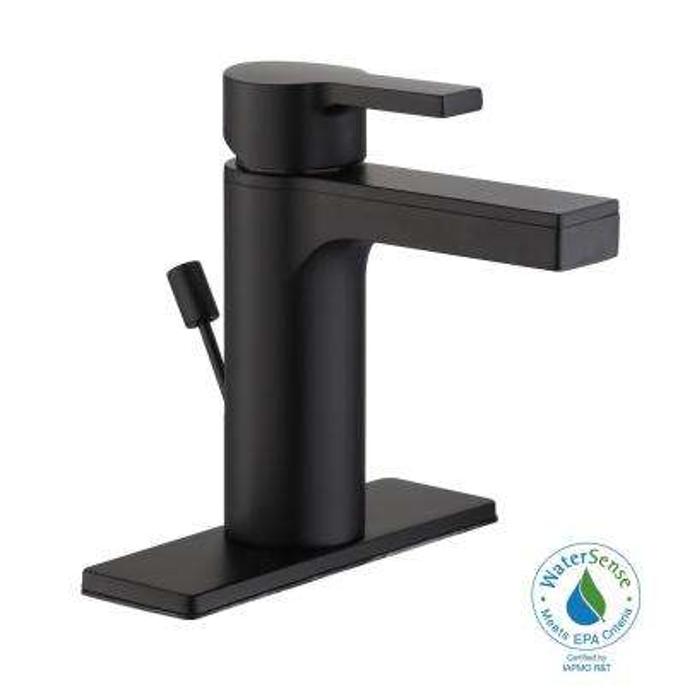Modern Contemporary 4 in. Centerset Single-Handle Low-Arc Bathroom Faucet in Matte Black