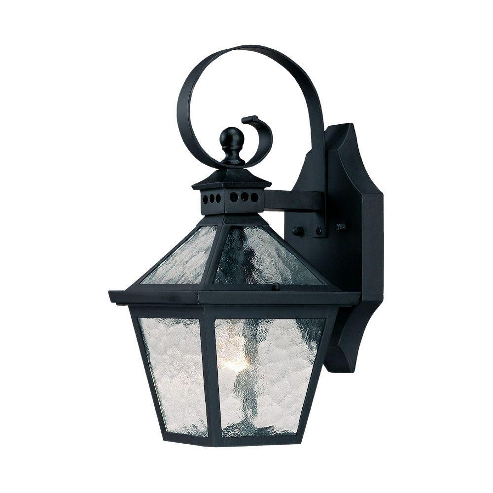 Bay Street Collection 1-Light Matte Black Outdoor Wall-Mount Fixture