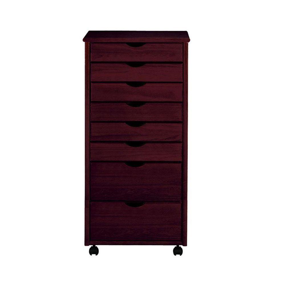 Stanton 6+2-Drawers Wide Storage Cart in Dark Cherry