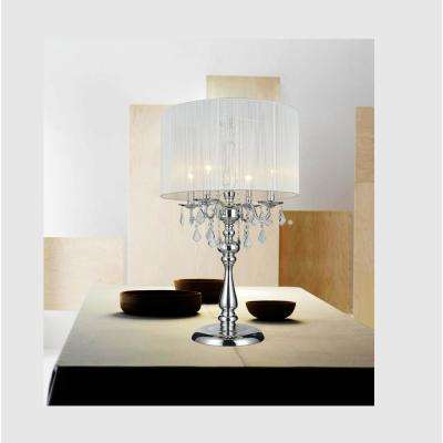 Sheer 32 in. Chrome Table Lamp with White Shade