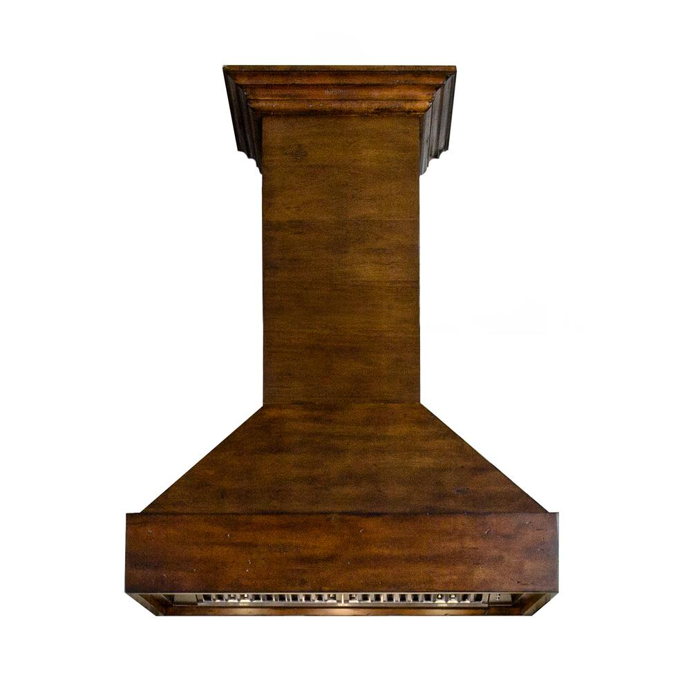 900 Cfm Wooden Wall Mount Range Hood In Walnut And Hamilton