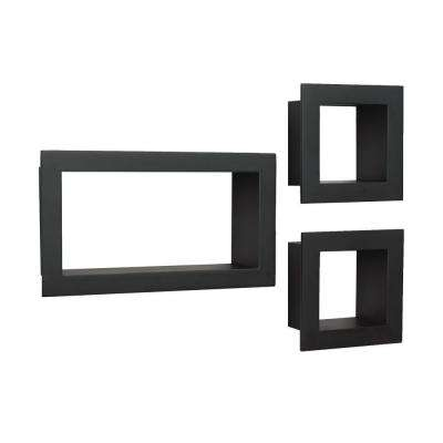 4 in. x 10 in. Floating Black Frame Decorative Shelf Kit (3-Piece)