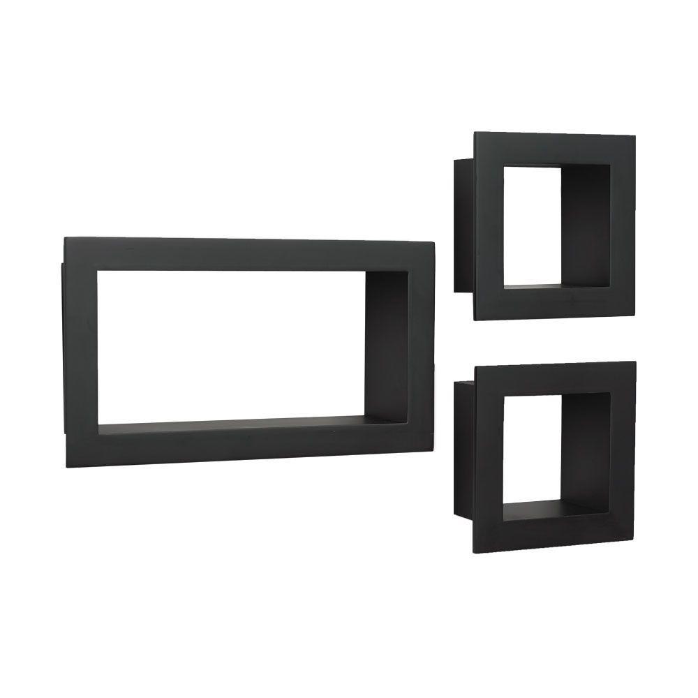 4 in. x 10 in. Floating Black Frame Decorative Shelf Kit (3-Piece)