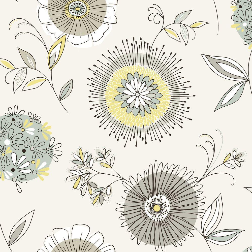 Maisie Green Floral Burst Wallpaper Sample
