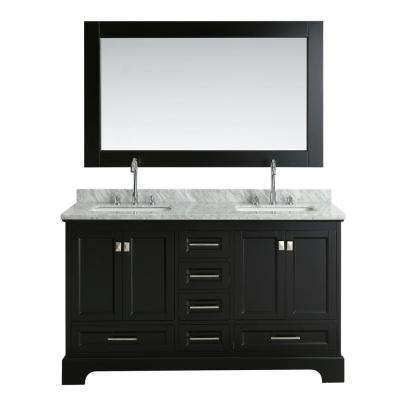 Omega 61 in. W x 22 in. D Vanity in Espresso with Marble Vanity Top in Carrara White with White Basin and Mirror