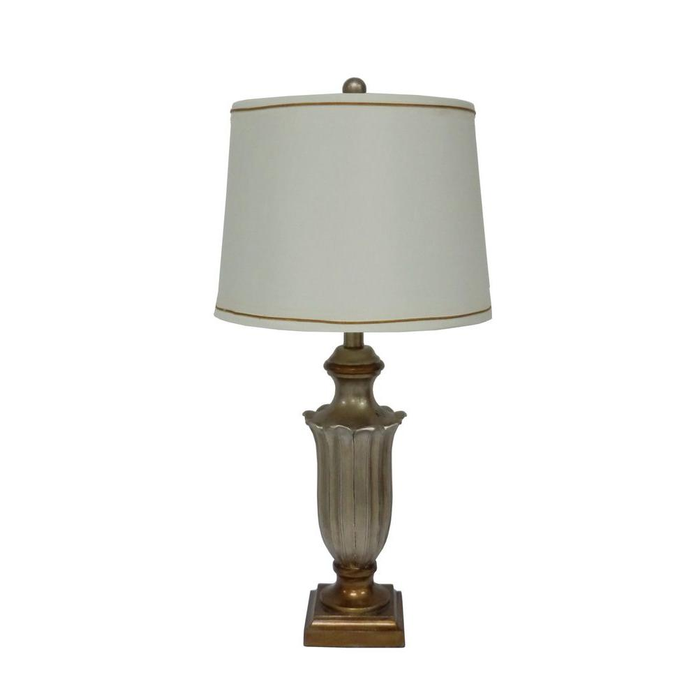 Fangio Lighting 28 in. Antique Silver Resin Table Lamp