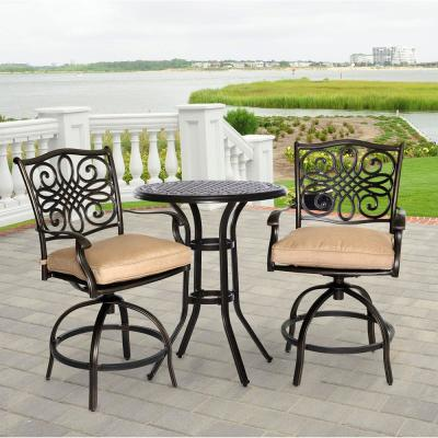 Traditions 3-Piece Aluminum Round High Dining Patio High Dining Set with Natural Oat Cushions