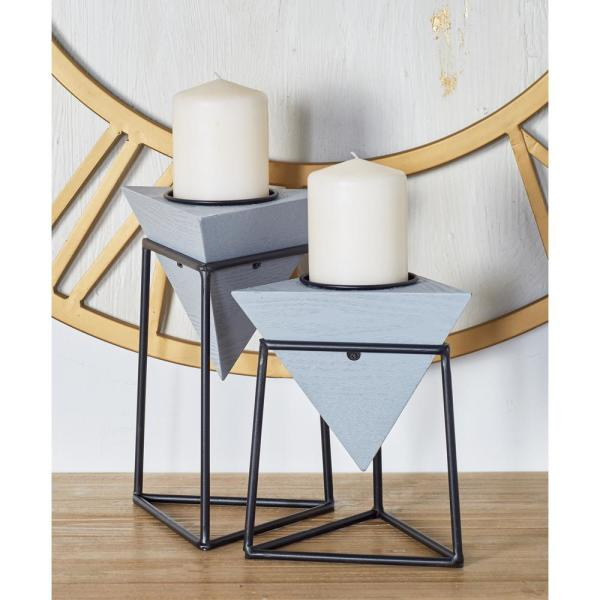 CosmoLiving by Cosmopolitan Gray Wood and Iron Candle Holders with Black