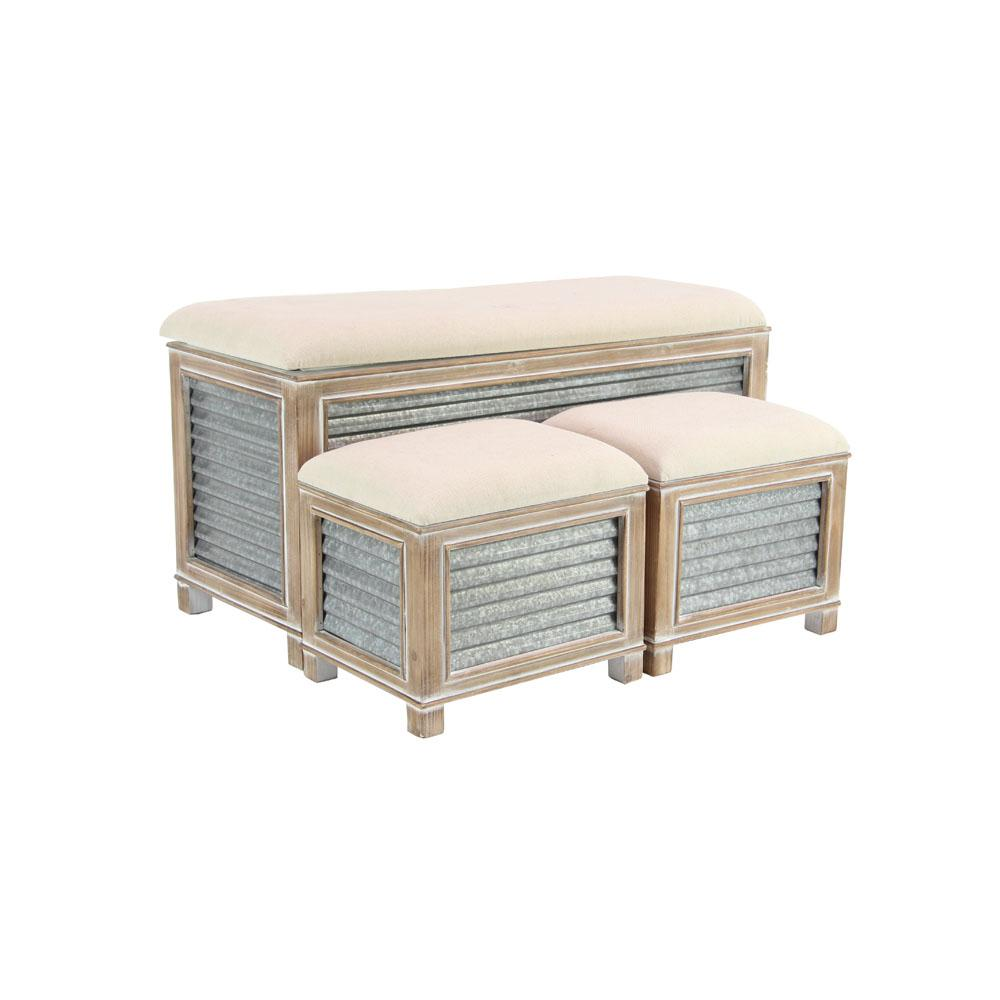 Litton Lane Gray Corrugated Iron Storage Benches With Brown Cushioned Seats Set Of 3
