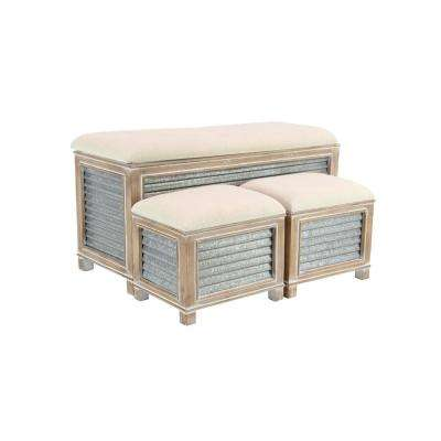 Gray Corrugated Iron Storage Benches with Brown Cushioned Seats (Set of 3)