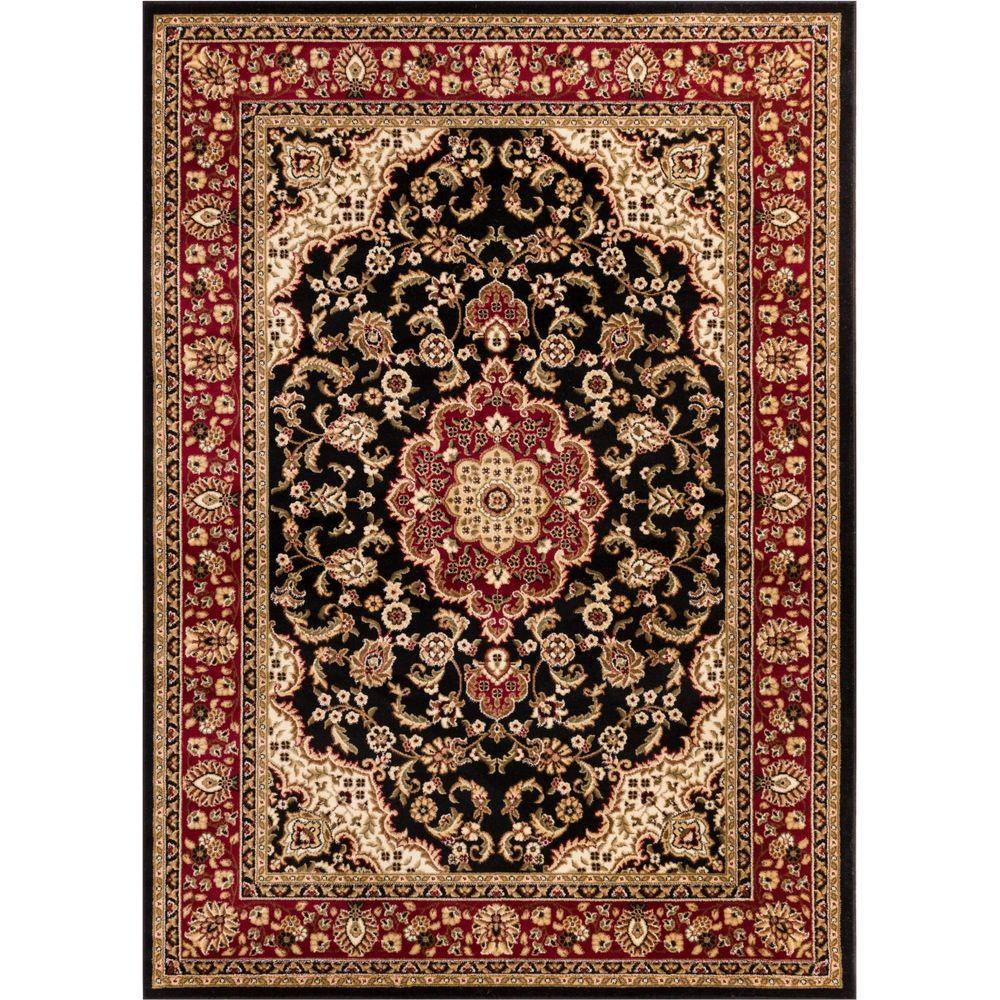 Well Woven Barclay Medallion Kashan Black 7 Ft X 10 Traditional Area Rug