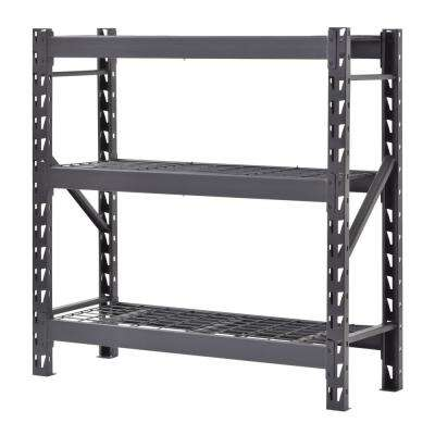 48 in. W x 48 in. H x 18 in. D Black Welded Steel Garage 3 tier Garage Shelving Unit
