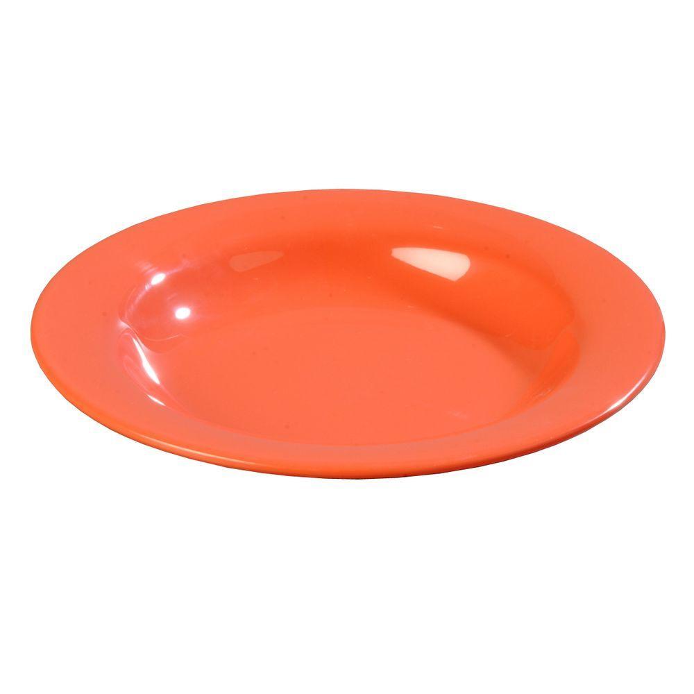 13 oz., 9.25 in. Diameter Wide Rim Melamine Pasta, Soup and Salad Bowl in Sunset Orange (Case of 24)