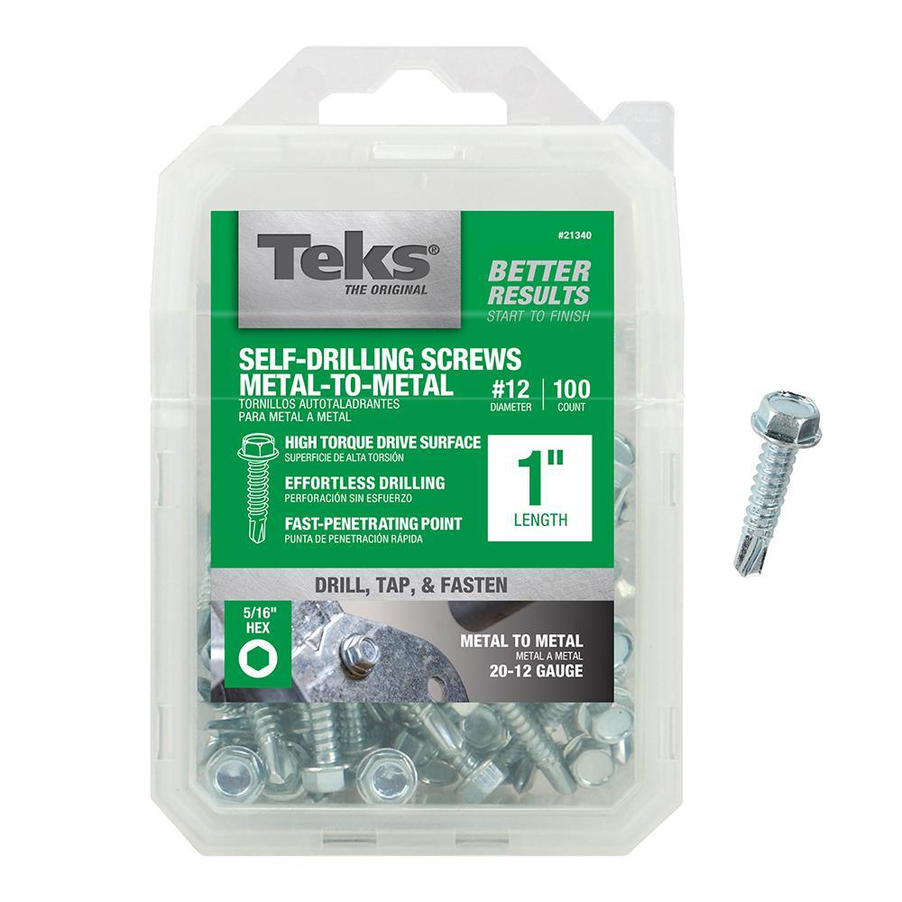 #12 1 in. External Hex Flange Hex-Head Self-Drilling Screws (100-Pack)