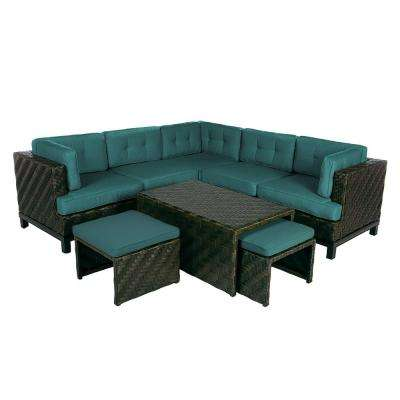 Rachel 8-Piece Wicker Patio Sectional Seating Set with Spectrum-Peacock Cushions