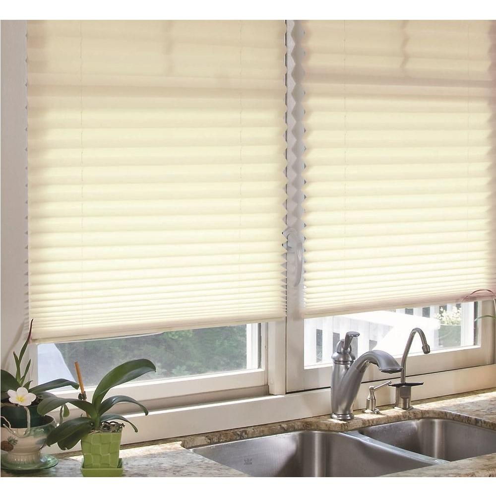 Redi Shade Natural Fabric Corded Light Filtering Pleated Shade - 36 in. W x 72 in. L