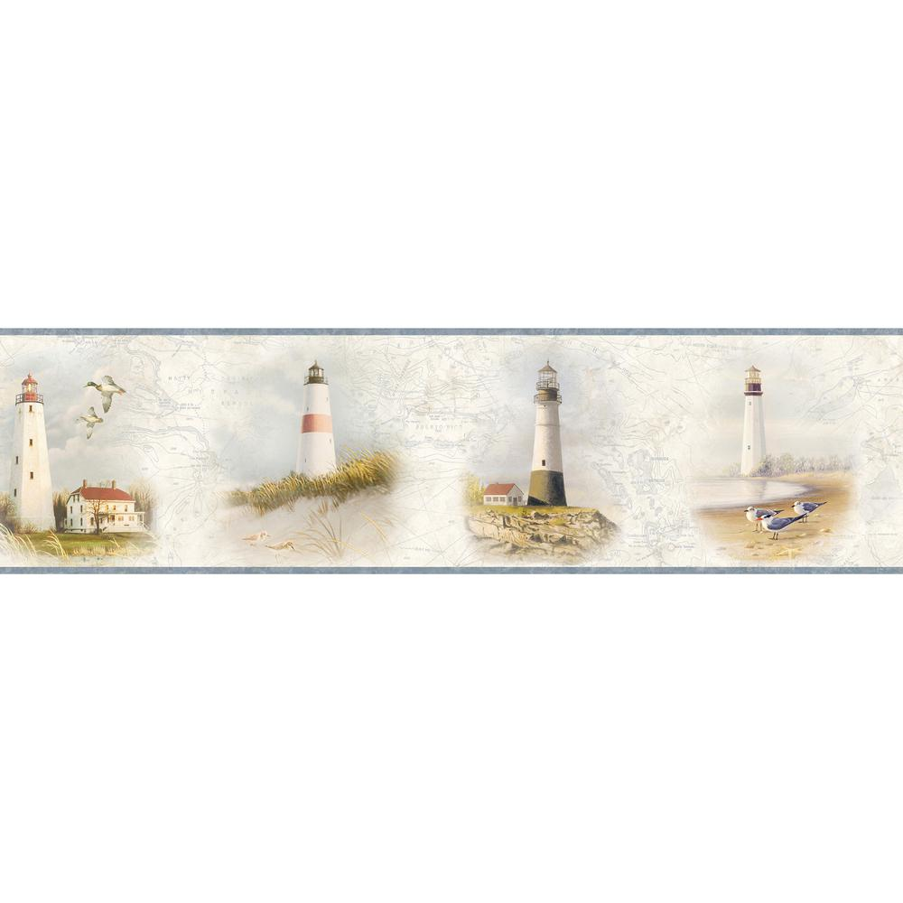 Arya White Lighthouse Coast Red Wallpaper Border