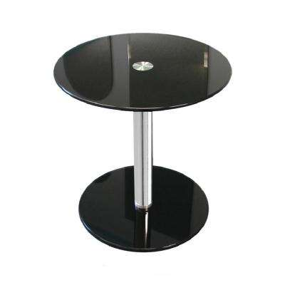 17-1/2 in. Black Round Modern Glass Side Table with 17-3/4 in. H