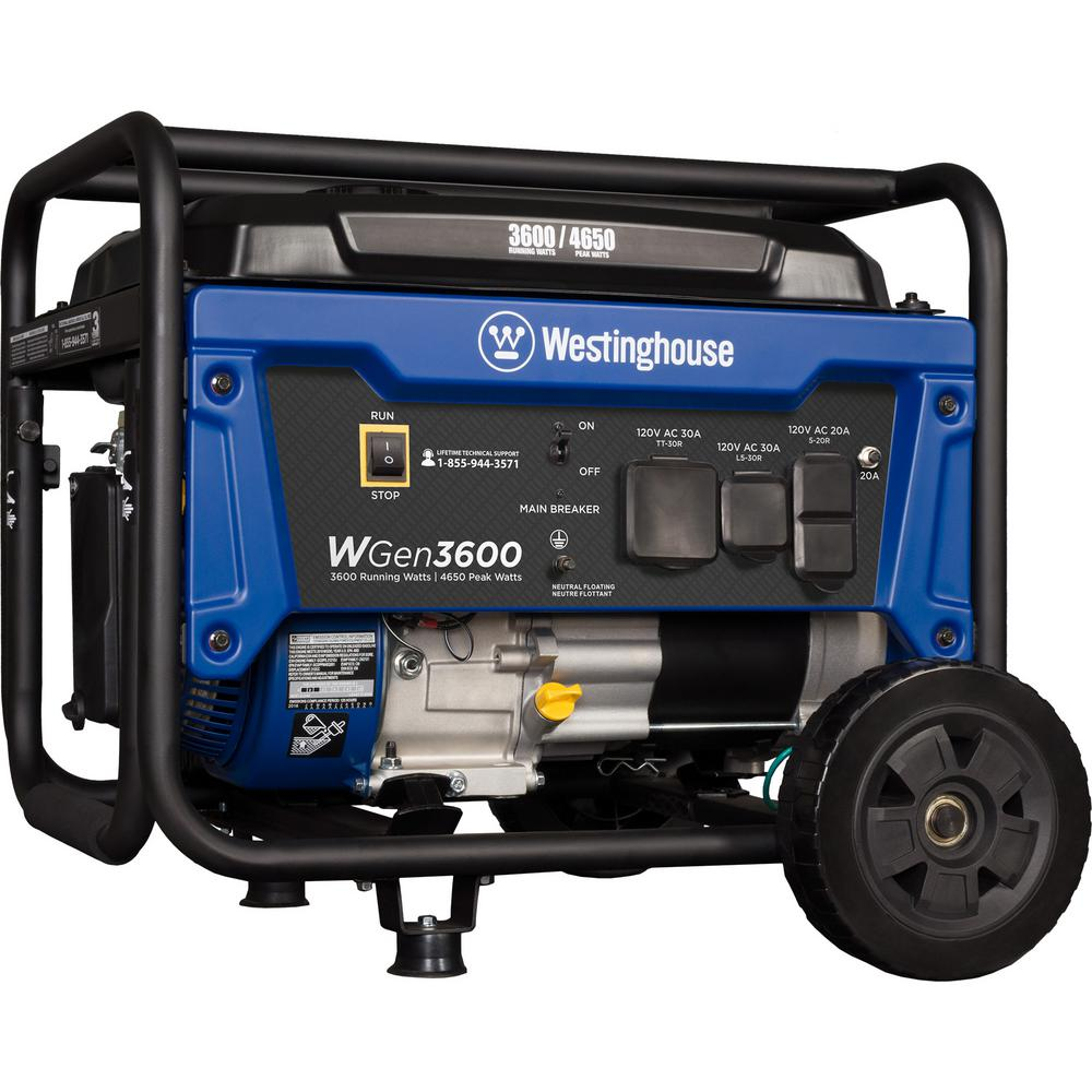 Westinghouse 4,650/3,600-Watt Gasoline Powered RV-Ready Portable Generator  With Automatic Low-Oil Shutdown And Wheel Kit