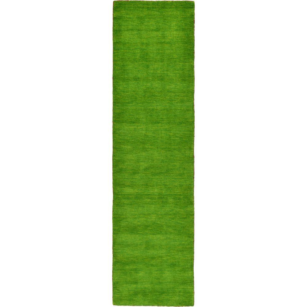 Solid Gabbeh Light Green 2 ft. 7 in. x 9 ft. 10 in. Runner