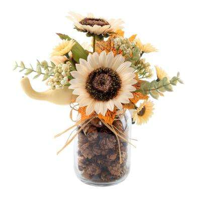 9.5 in. H Fall Harvest Artificial Cream White Sunflowers and Pumpkins in Glass Pinecone Jar