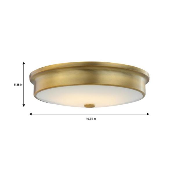 Home Decorators Collection Versailles 15 In Aged Brass Led Flush Mount Ceiling Light With White Glass Shade Hd 1560 I The Home Depot
