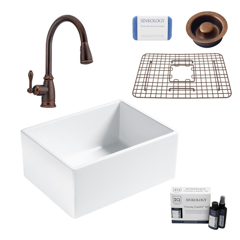 SINKOLOGY Wilcox II All-in-One Farmhouse/Apron Fireclay 24 in. Single Bowl Kitchen Sink with Pfister Bronze Faucet and Drain