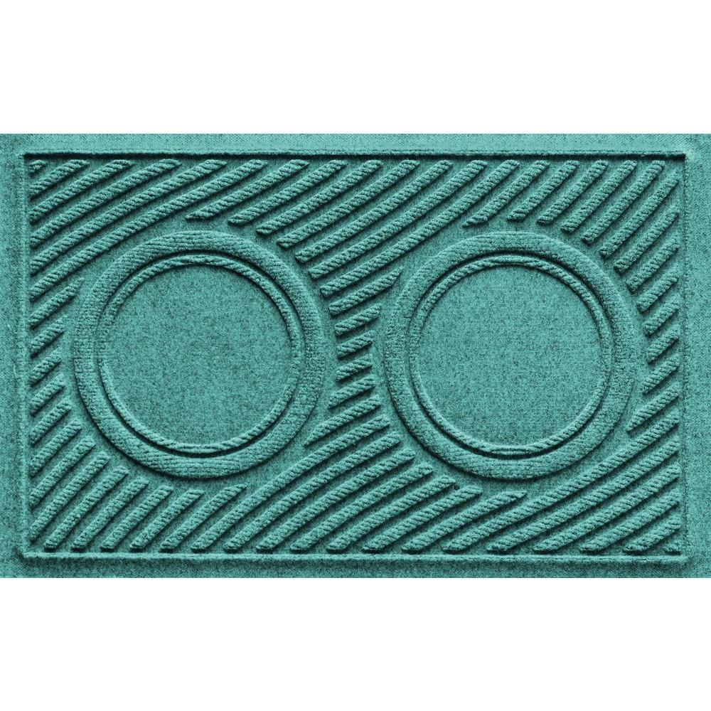 Aquamarine 18 in. x 28 in. Dog Bowl Wave Pet Mat