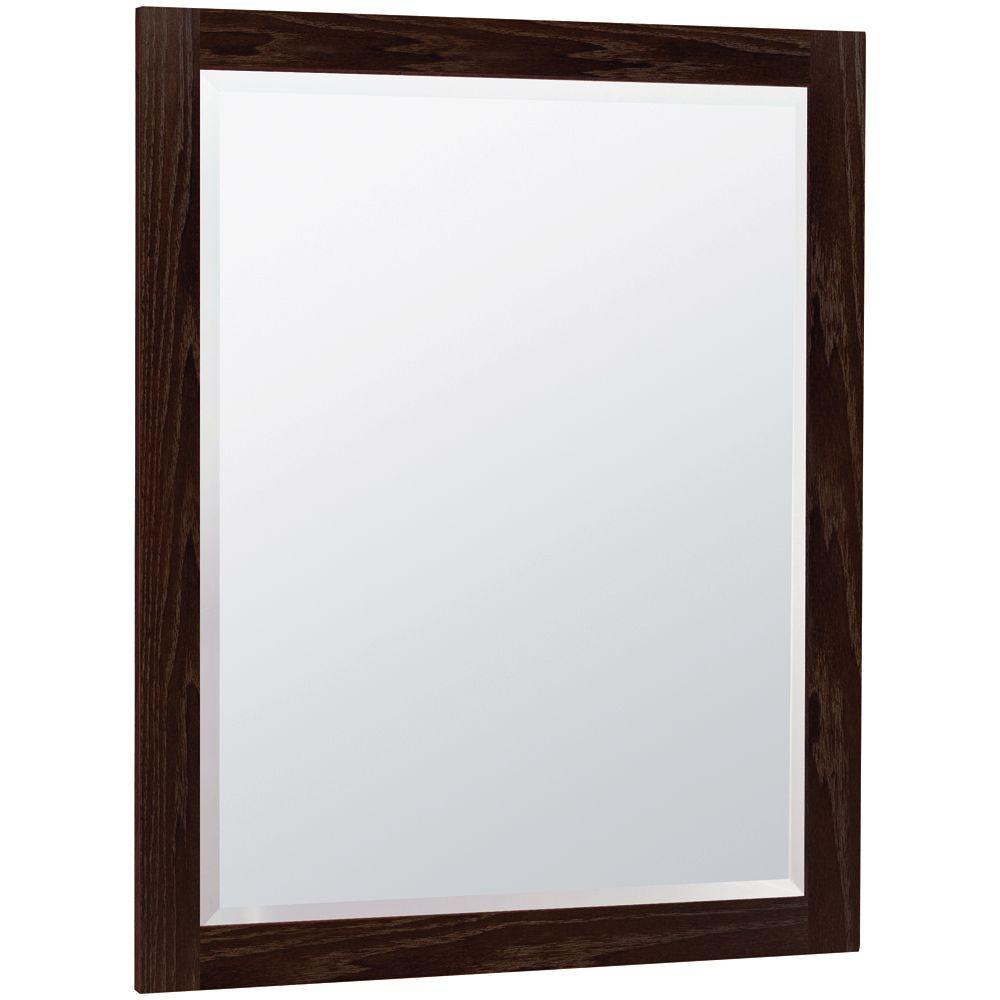 MasterBath 32 in. L x 26 in. W Wall Mirror in Java Oak