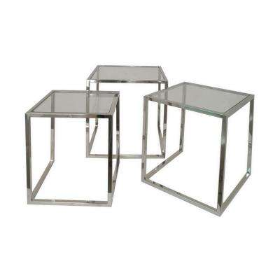22 in. Silver Nesting Table (Set of 3)