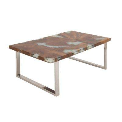 18 in. x 47 in. Stainless Steel and Teak Coffee Table With Resin Accents