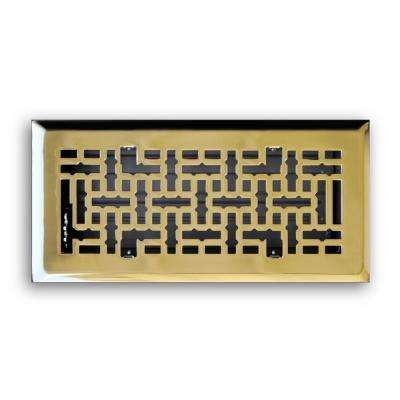 4 in. x 12 in. Modern Contempo Floor Diffuser, Polished Brass