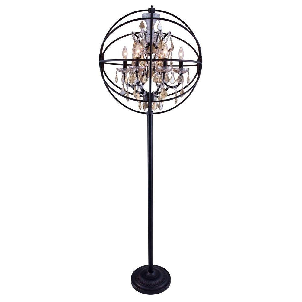 Geneva 71.5 in. Dark Bronze Floor Lamp with Golden Teak Smoky Crystal
