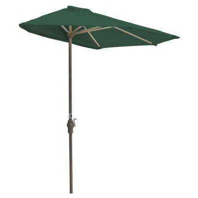 Off-The-Wall Brella 9 ft. Patio Half Umbrella in Green Sunbrella