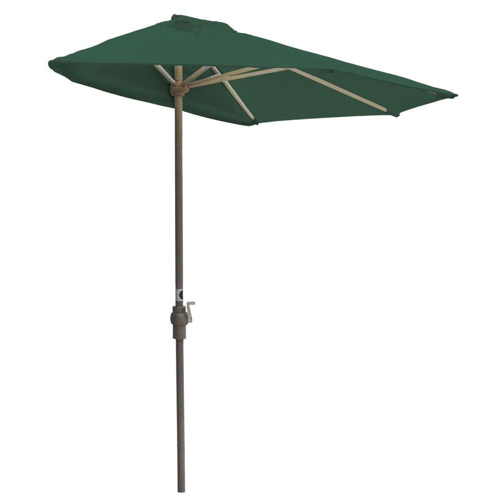 Off-The-Wall Brella 9 ft. Patio Half Umbrella in Green Sunbrella