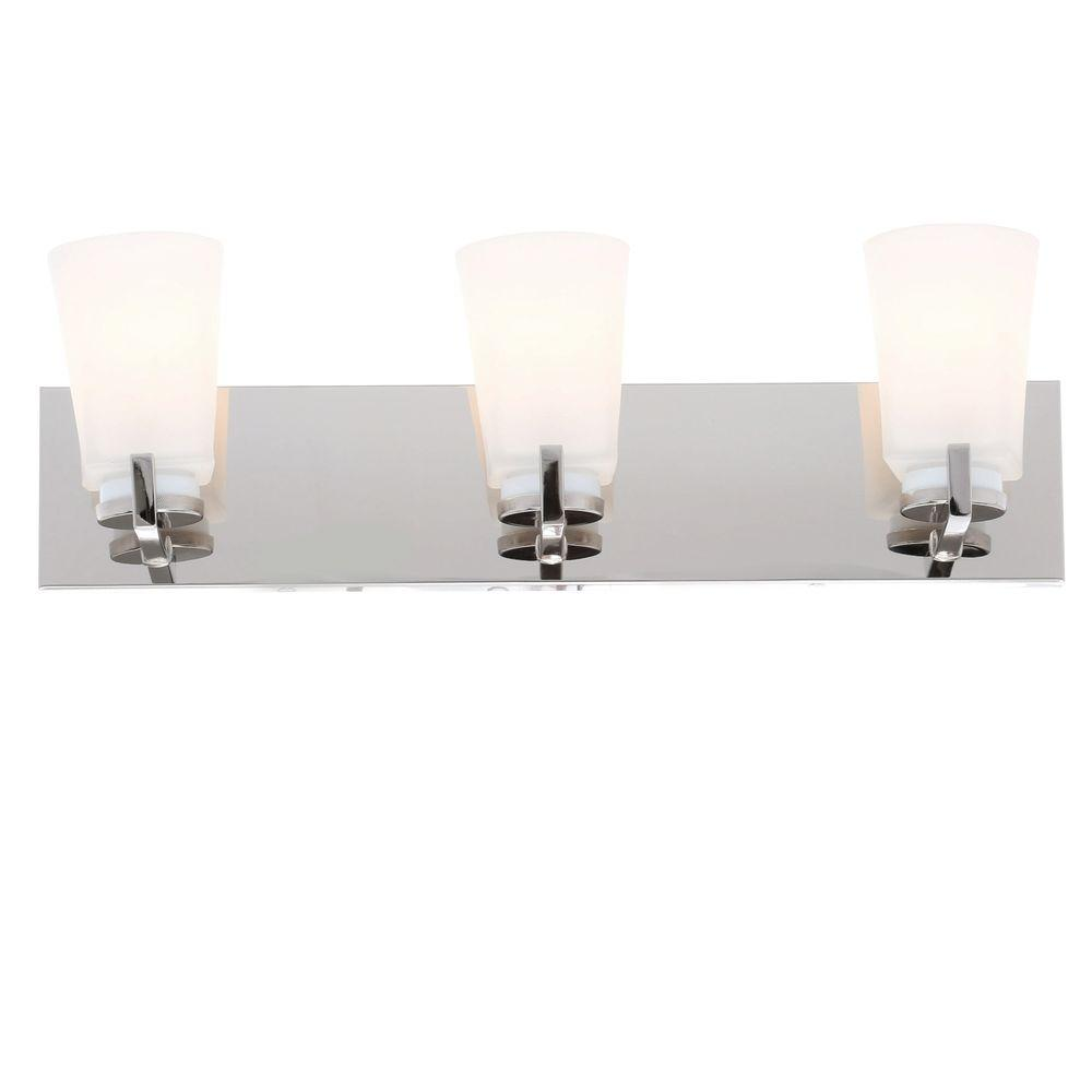 Wellman 3 Light Polished Nickel Vanity Light With Etched White Glass Shades