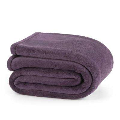 Plush Plum Polyester Twin Blanket