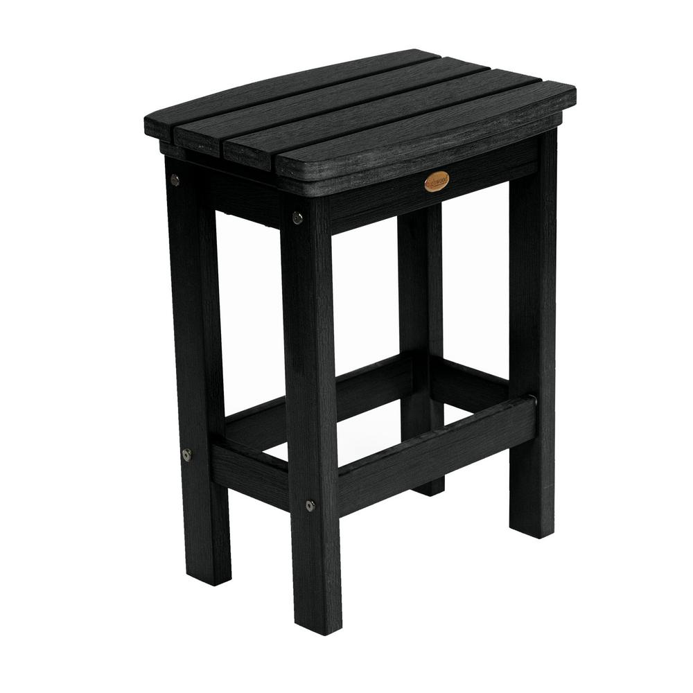 Highwood Lehigh Black Counter Height Recycled Plastic Outdoor Bar Stool