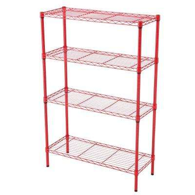 36 in. x 14 in. 4-Tier Red Wire Shelf